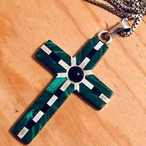 Taxco 🇲🇽 Sterling Malachite Jet Cross Necklace